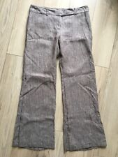 GREAT PLAINS Brown Straight Leg 100% Linen Trousers Size 14 Smart Casual