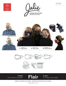 Jalie 4026 Flair Face Masks & Accessories Sewing Pattern Children Teens & Adults