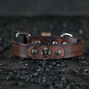 Custom Leather Dog Collars..Handmade..CROSS...Antique Black