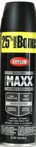 1 Cans Krylon 15 Oz Cover Maxx 89158 Satin Black Outdoor Performance Spray Paint