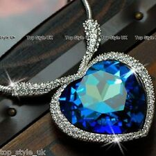 Sapphire Blue Heart of the Ocean Necklace Pendant Beautiful Valentine Gift <3