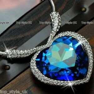Sapphire Blue Heart of the Ocean Necklace Pendant Beautiful Valentines Day Gift
