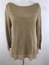 Lauren Ralph Lauren Woman's Medium Petite PM Sweater Beige Tan Crochet Tank
