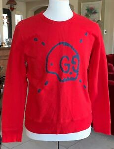 Men's GUCCI Red Logo Sweatshirt, Size XL
