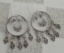 Solid Silver, 925 Balinese Carved Filigree Earring Hook Round Design 34474