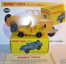 DINKY TOYS ATLAS JEEP WILLYS version civile JAUNE REF 24 M 1/43 IN BOX