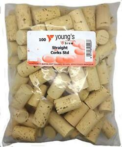 Youngs Natural Straight Wine Corks Standard (Pack of 100)  (EPHB)