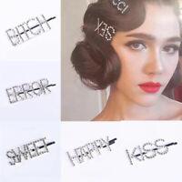 Fashion Girls Crystal Rhinestone Words Hair Barrette Women Hair Clips Headwear