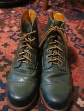 Frye Boots in Bottle Green Pebbled Leather Men's sz 8 with Topstitching Details