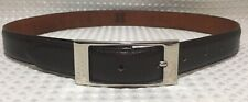 MCM Women's Belt Leather Dark Brown W Silver Buckle Made In Italy Sz S