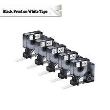 5PK For Dymo D1 Black on White S0720530 Label Tape Cassette 45013 1/2