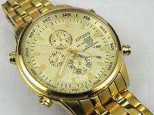 Mens Citizen Cal:6870 Alarm Chrono Gold Dress Watch - 100m
