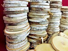 """25 BIRCH WOOD SLICES 3 1/2"""" WOODEN CRAFTS WEDDING ORNAMENTS COASTERS DRIED"""