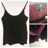 7 For All Mankind Women's Velvet Camisole Top Tank Cami Burgundy Size M NWT