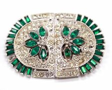 SILVER TONE Green & Clear St Patrick Theme Rhinestone Brooch Pin *BOXED* - H29