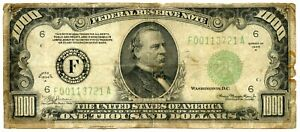 Genuine Series 1934-A $1000 Federal Reserve Note Atlanta,GA District Fine Detail