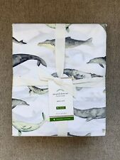 Pottery barn Organic Sea Pod Sheet Set King Multi color whales, dolphins