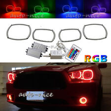 RGB 16-Color LED Angel Eyes Halo Rings Kit For 2011-2014 Dodge Charger Headlight