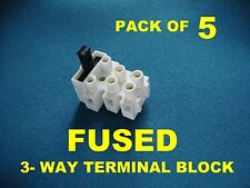 PACK OF 5, FUSED 3-WAY MAINS TERMINAL BLOCK rated 10A 250V, uses 20mm fuse