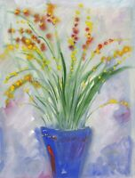 Gustave Bourgogne, Flowers in Blue Vase – Mid-20th-century gouache painting