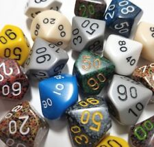 (5) Chessex D00 Percentile Random Color Polyhedral Dice Set, 10 Sided Lot RPG
