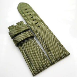 26mm Green Canvas Leather Green Stitch PAM Strap for RADIOMIR LUMINOR