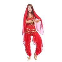4 Pics Belly Dance Costume Set Top+ Pants + Hip Scarf & Head Scarf with Coins