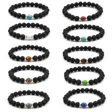 Fashion Women Men Lava Stone Bracelet Chakra Yoga 8mm Beads Bracelet