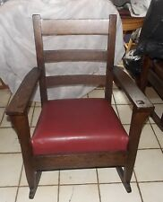Quartersawn Oak Mission Rocker / Rocking Chair with red leather  (R207)