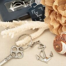 50 Nautical Anchor Silver Key Chain Wedding Bridal Shower Party Gift Favors