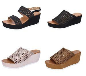 FEMME PLUS scarpe donna sandali ciabatte zeppa marrone nero rosa camoscio pelle