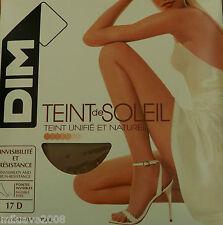 3 panty,collant, tights  DIM 17D Invisible, resistente tono natural y bronceado