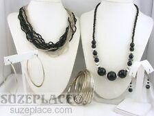 MULTI STRAND SEED BEAD NECKLACE + BLACK & SILVER NECKLACE 2 PR EARRING BRACELET