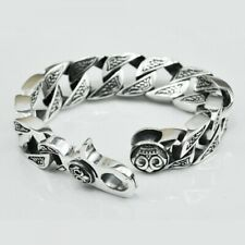 Silver Bold Curb Chain Biker Bracelet Awesome Men's Pure 925 Solid Sterling