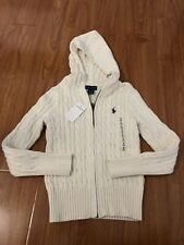 New! Polo Ralph Lauren Girls Knitted Zipper Front Jacket Cream Color Size S (7)