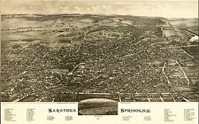 1888 BIRD'S EYE VIEW OF SARATOGA SPRINGS RACE TRACK, NEW YORK COPY POSTER MAP