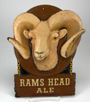 VINTAGE RAMS HEAD ALE BEER ADVERTISING SIGN R-20 ADAM SCHEIDT BREWING CO
