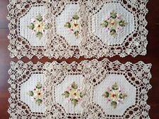 """6 pieces  10""""  Square  Crochet Lace Doily COLOR Beige  100 % COTTON"""