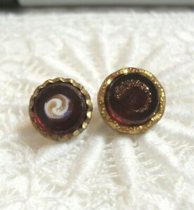 """2 Antique Red Glass Waistcoat Buttons 3/8"""" & 7/16"""""""
