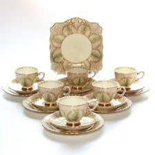 Tuscan China, 19 Piece Tea Set, Green Lotus.