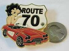 BETTY BOOP LIONS CLUB CHEVROLET CORVETTE PIN ROUTE 70 STEET SIGN