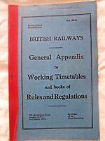BRITISH RAIL, TIMETABLES, RULES, REGULATIONS, BOOK, RAILWAYANA, VINTAGE