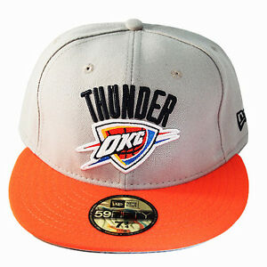 New Era NBA OKC Thunders 5950 Grey Orange Fitted Hat grey Under Brim Classic Cap