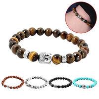 Lava roche pierre naturelle tête de Bouddha argent perles bracelet de Healing HW