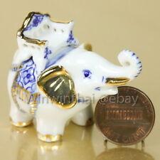 ELEPHANT WITH GOLD TRIM Ceramic Pottery Miniature Animal Figurine