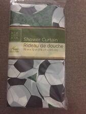 "New Plastic Soccer Sports Themed 70"" x 72"" Shower Curtain Boys Girls Bathroom"
