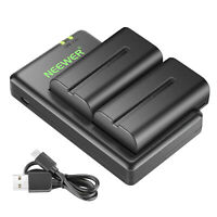 Neewer Replacement Batteries (2 Pieces Li-ion) Charger Kit for Sony NPF550