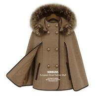 Women's fur collar cape wool  jacket coat cloak outwear poncho trench hooded