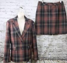 CHADWICKS OF BOSTON Wool blend Brown Tartan Blazer/Skirt Suit Lined 14
