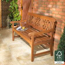 More details for 3 seater hardwood bench classic wooden garden patio outdoor furniture indoor new
